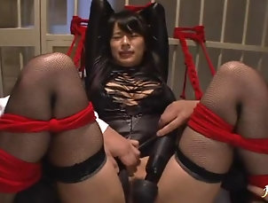 Stockings,Nylon,Nice Ass,Toys,Threesome,MMF,Hardcore,Bondage,Asian,Japanese Hardcore bondage vibrator action with...