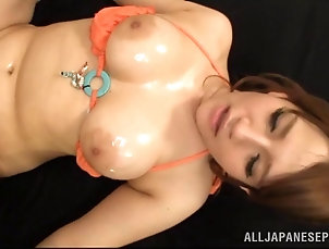 Couple,Hardcore,Asian,Japanese,Natural Tits,Panties,Oiled Her big Japanese tits get creampied...