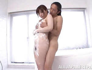 Couple,Hardcore,Asian,Japanese,Bath,Soapy,Shower,Hairy Japanese milf with soapy boobs gives...