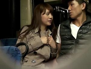 Couple,Hardcore,Asian,Japanese,Bus,Public,Reality,Handjob Attractive Japanese pornstar giving a...