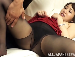Couple,Hardcore,Asian,Japanese,Pantyhose,Nylon He rips Misa Kudou's pantyhose...