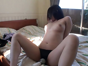 Couple,Hardcore,Asian,Pussy,Hairy,Toys,Vibrator,Natural Tits Kyoko will let the guy do to her...
