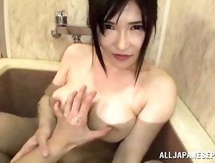 Hardcore,Couple,POV,Asian,Japanese,Bath,Big Tits Sucking off a guy in the bathroom...