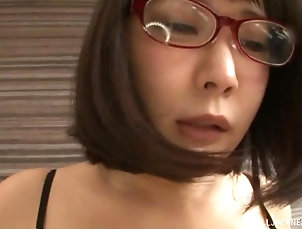 Couple,Japanese,Missionary,Lingerie,Clothed Sex,Big Tits,Natural Tits,Glasses Japanese MILF in lingerie gets a...
