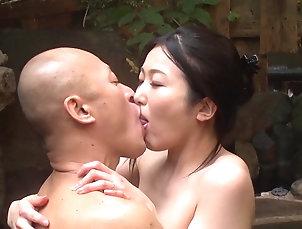 Couple,Outdoor,Japanese,Pool,JAV Taking Satomi Akari from behind...