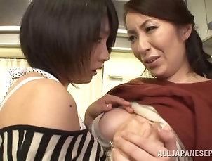 MILF,Cougars,Asian,Japanese,Big Tits,Natural Tits,Fingering,Lesbian,Kitchen Mature lesbian cougar with big tits...