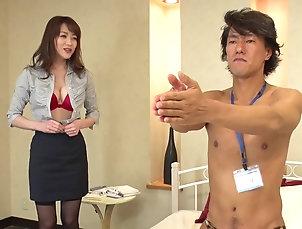 Couple,Natural Tits,Stockings,Nylon,Japanese Akari Hoshino gets naked for a fuck...