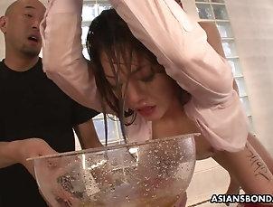 BDSM,Fetish,Slave,Japanese,Piss Drinking Bound Asian slut gets drenched in...