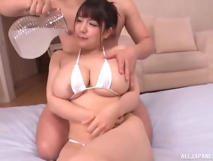 Couple,Japanese,Oiled,Messy,Big Tits,Natural Tits,Chubby Oiled chick Yuzuki Marina gets her...
