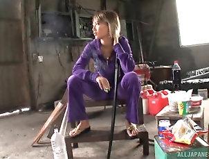 Couple,Japanese,Cumshot,Cum On Tits,Natural Tits Blonde Japanese babe Aika rides and...