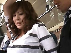 Public,Asian,Japanese,Bus Yuma Asami riding the bus and having...