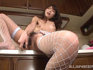 Asian,Japanese,Stockings,Fishnet,Small Tits,Solo Models,Kitchen Spectacular Honami Uehara Masturbates...