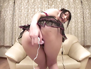 Asian,Japanese Horny bitch in sexy lingerie plays...