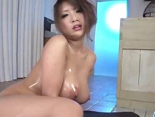 Japanese Yume Mizuki swallows fresh jizz after...