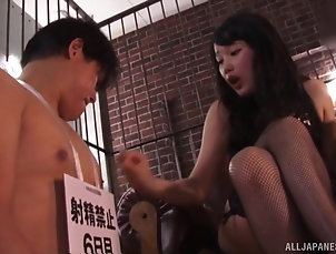 Couple,Japanese,Fetish before she sits on hard penis...