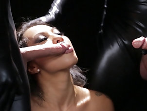Group Sex,Hardcore,Foursome,Fetish,Leather,Brunettes,Pornstars,Natural Tits Lads in latex offer their massive...
