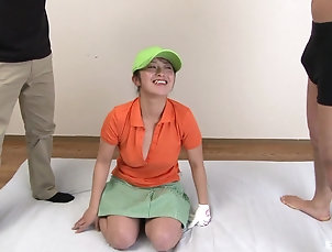 Outdoor,Japanese,Sport Naked girl plays golf and shows off...