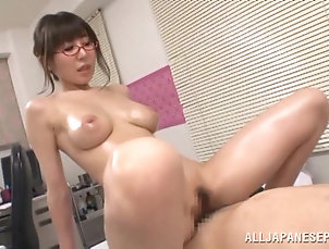 Couple,Hardcore,Asian,Japanese,Brunettes,Oiled,Glasses,Licking,Big Tits,Natural Tits Meisa Chibana massages a cock and...