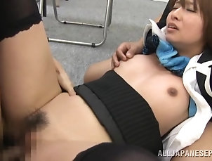 Threesome,MMF,Hardcore,Amateur,Asian,Japanese Slender Japanese office manger is...