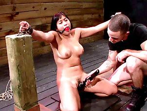 BDSM,Asian,Punishment,Toys,Torture,Blowjob,Hardcore,Fake tits,Hanging,Straight Dirty asian enjoying bondage porn