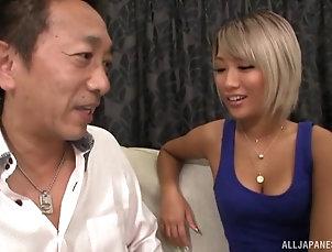 Couple,Japanese Blue dress goes nicely on Aika and...