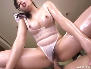 Couple,Oiled,Kitchen,Japanese Kitchen is where naughty Egami Shiho...