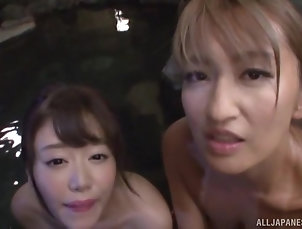 Threesome,FFM,Japanese,Pool,POV,Natural Tits,Cowgirl,Outdoor Gorgeous Japanese women have a blast...