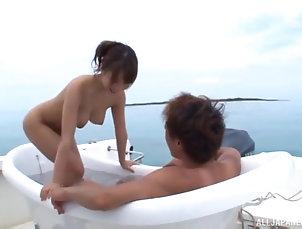 Japanese,Outdoor,Natural Tits,Yacht Ayami Shunka cannot resist a...