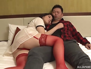 Couple,Japanese,Lingerie,Stockings,Nylon,Natural Tits,Bra Busty Mishima Natsuko pleases a...