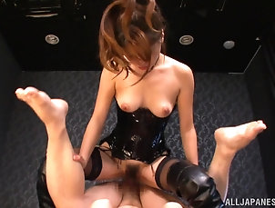 Asian,Japanese,Couple,Hardcore,Natural Tits,Leather,Lingerie,Clothed Sex,Hairy,Stockings,Nylon,Missionary,POV An Asian girl in a leather corset and...