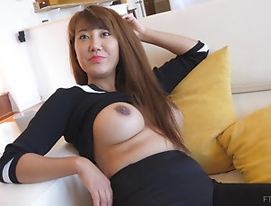 Solo Models,Asian,MILF,Long Hair,Big Tits,Fake Tits Asian bombshell Tiffany takes off her...