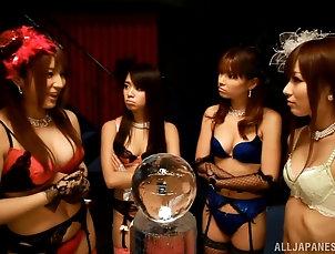Asian,Foot Fetish,Group Sex,Hardcore,Japanese Three Japanese sluts please a guy...