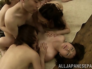 Bikini,MILF,Cougars,Japanese,Asian,Group Sex,Hardcore,Orgy,Licking,Fingering,Blowjob,Kitchen Japanese babes get hardcore fucking,...