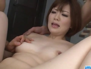 Japanese Sweet threesome porn session with...