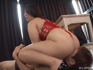 Couple,Hardcore,Chubby,Asian,Japanese,Lingerie,Licking,Big Tits,Natural Tits Supremely curvy Asian girl in red...